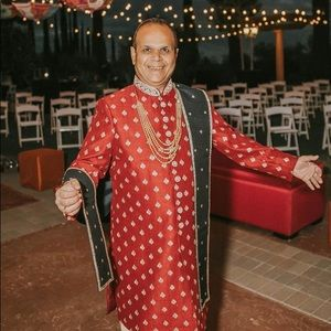 Royal Blue & Red Sherwani with Gold Accents